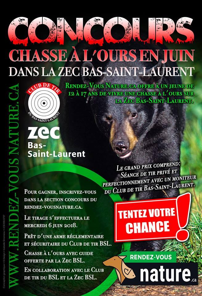 La relève peut chasser l'ours en juin grâce à « Rendez-Vous Nature.ca »