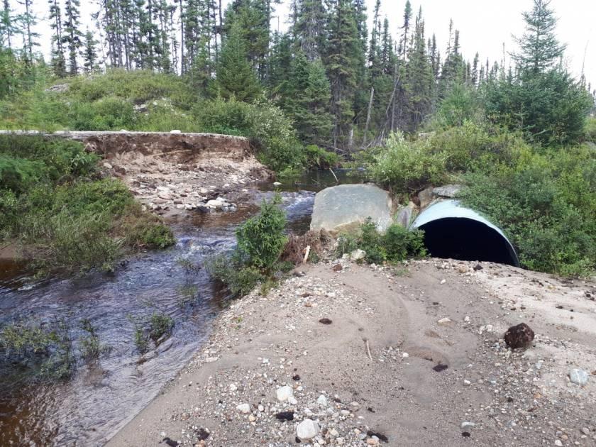 Rupture d'un chemin sur des terres publiques au Saguenay-Lac-Saint-Jean