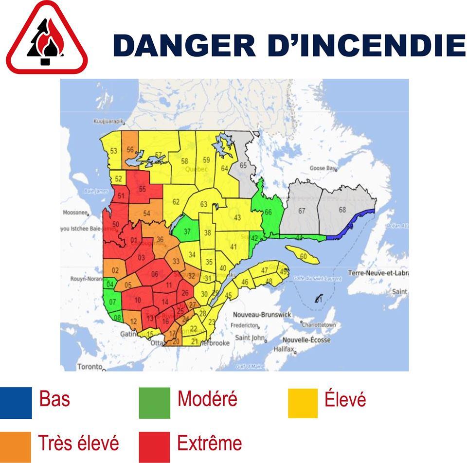 Danger d'incendie extrême dans plusieurs régions du Québec