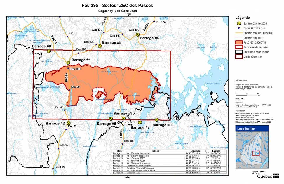 Feu au Lac-Saint-Jean : consultez les blocages routiers