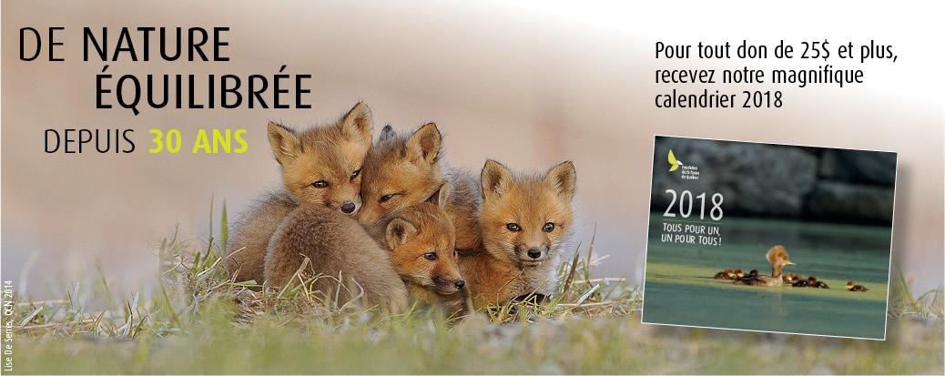 Gagnez votre calendrier 2018 de la Fondation de la faune